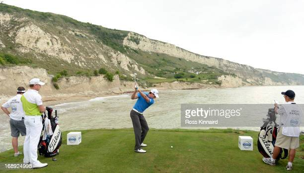 Brett Rumford of Australia on the 9th tee during the morning matches on day two of the Volvo World Match Play Championship at Thracian Cliffs Golf...