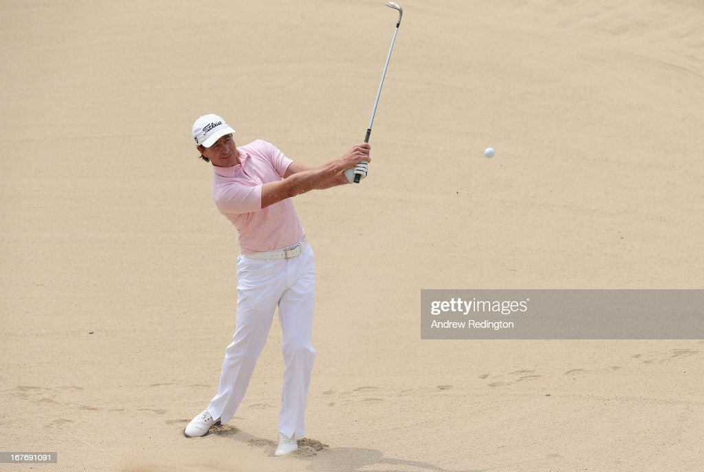 Brett Rumford of Australia plays a bunker shot on the sixth hole during the final round of the Ballantine's Championship at Blackstone Golf Club on April 28, 2013 in Icheon, South Korea.