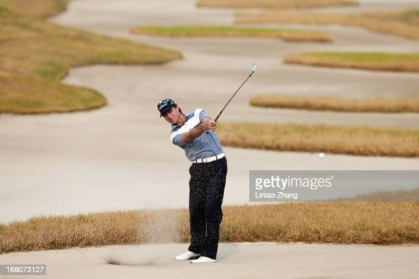 Brett Rumford of Australia plays a shot during the during the final round of the Volvo China Open at Binhai Lake Golf Course on May 5 2013 in Tianjin...
