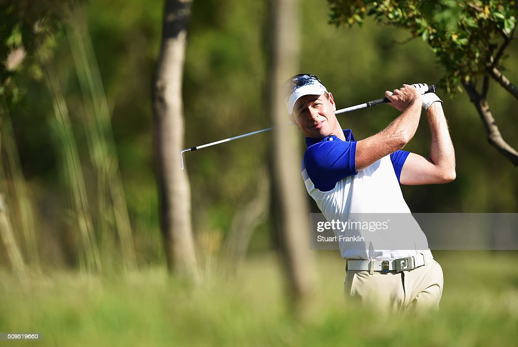 <a gi-track='captionPersonalityLinkClicked' href=/galleries/search?phrase=Brett+Rumford&family=editorial&specificpeople=216614 ng-click='$event.stopPropagation()'>Brett Rumford</a> of Australia plays a shot during the first round of the Tshwane Open at Pretoria Country Club on February 11, 2016 in Pretoria, South Africa.