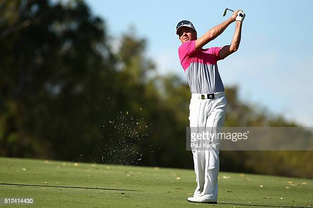 Brett Rumford of Australia plays his second shot on the 18th hole during day two of the 2016 Perth International at Karrinyup GC on February 26 2016...