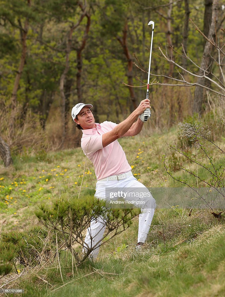 Brett Rumford of Australia plays his third shot on the 17th hole during the final round of the Ballantine's Championship at Blackstone Golf Club on April 28, 2013 in Icheon, South Korea.