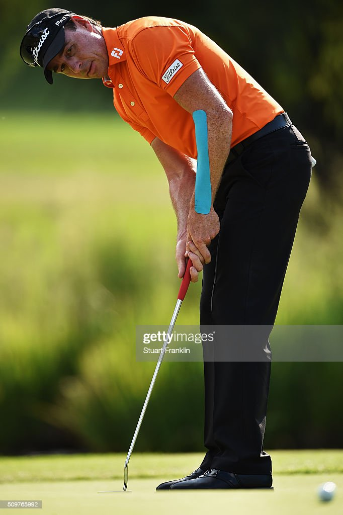 <a gi-track='captionPersonalityLinkClicked' href=/galleries/search?phrase=Brett+Rumford&family=editorial&specificpeople=216614 ng-click='$event.stopPropagation()'>Brett Rumford</a> of Australia putts during the second round of the Tshwane Open at Pretoria Country Club on February 12, 2016 in Pretoria, South Africa.