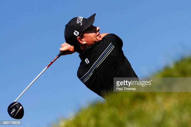 Brett Rumford of Australia tees off during the Lyoness Open day two at the Diamond Country Club on June 6 2014 in Atzenbrugg Austria