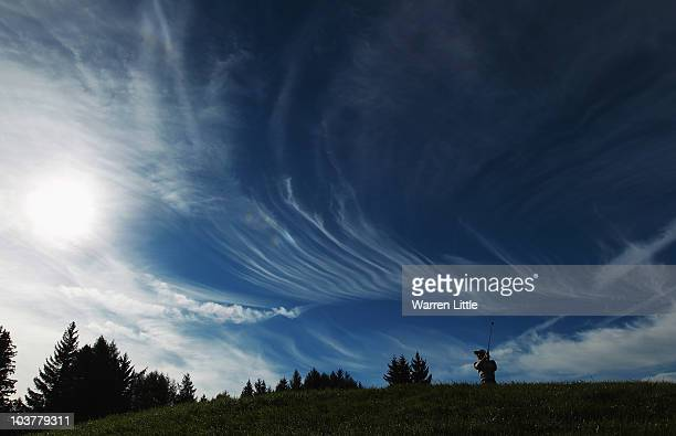 Brett Rumford of Australia tees off on the 16th hole during the first round of The Omega European Masters at CransSurSierre Golf Club on September 2...