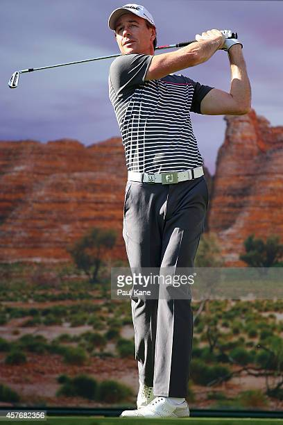Brett Rumford of Australia tees off on the 17th hole during day one of the 2014 Perth International at Lake Karrinyup Country Club on October 23 2014...