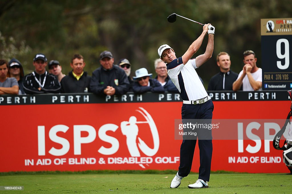 Brett Rumford of Australia tees off on the 9th hole during day three of the Perth International at Lake Karrinyup Country Club on October 19, 2013 in Perth, Australia.