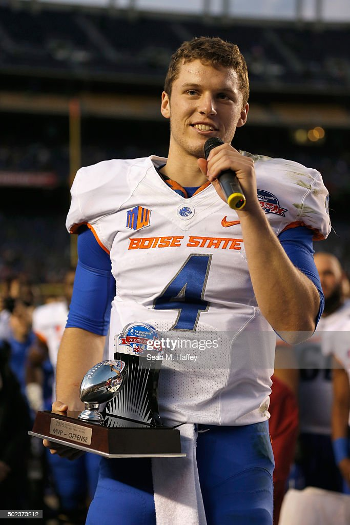 Brett Rypien of the Boise State Broncos was named the offensive player of the game in the San Diego County Credit Union Poinsettia Bowl on December...