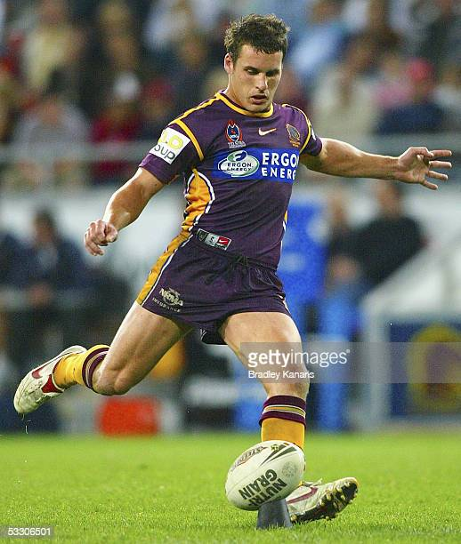 Brett Seymour of the Broncos kicks a conversion during the round 21 NRL match between the Brisbane Broncos and the Canberra Raiders at Suncorp...