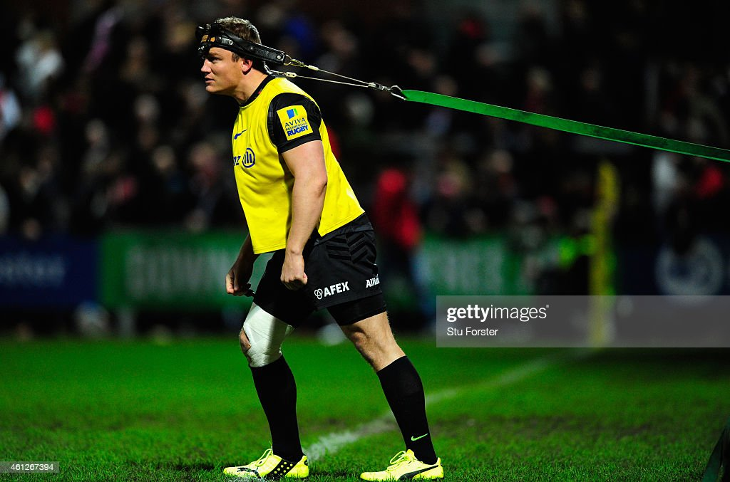 Brett Sharman of Saracens warms up during the Aviva Premiership match between Gloucester Rugby and Saracens at Kingsholm Stadium on January 9 2015 in...