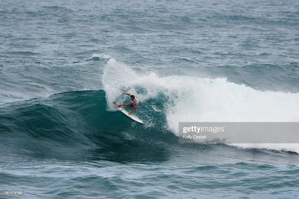 Brett Simpson of the United States advanced into Round 4 of the VANS World Cup of Surfing at Sunset Beach after placing second in his Round 3 heat on December 3, 2012 in North Shore, Hawaii.