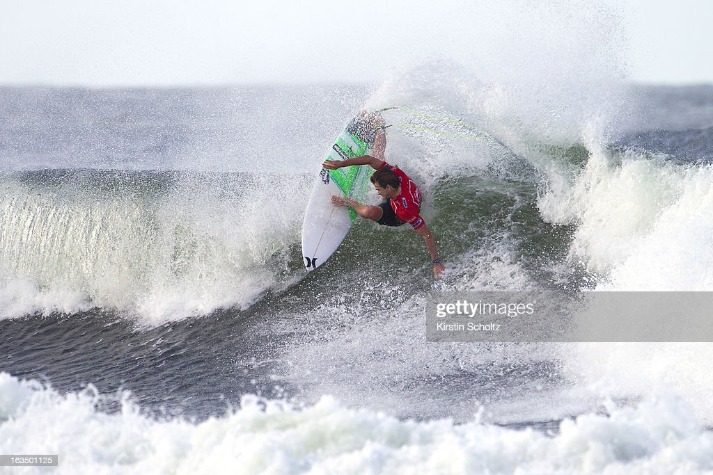 Brett Simpson of the USA surfs during round four of the Quiksilver Pro on March 11, 2013 in Gold Coast, Australia.