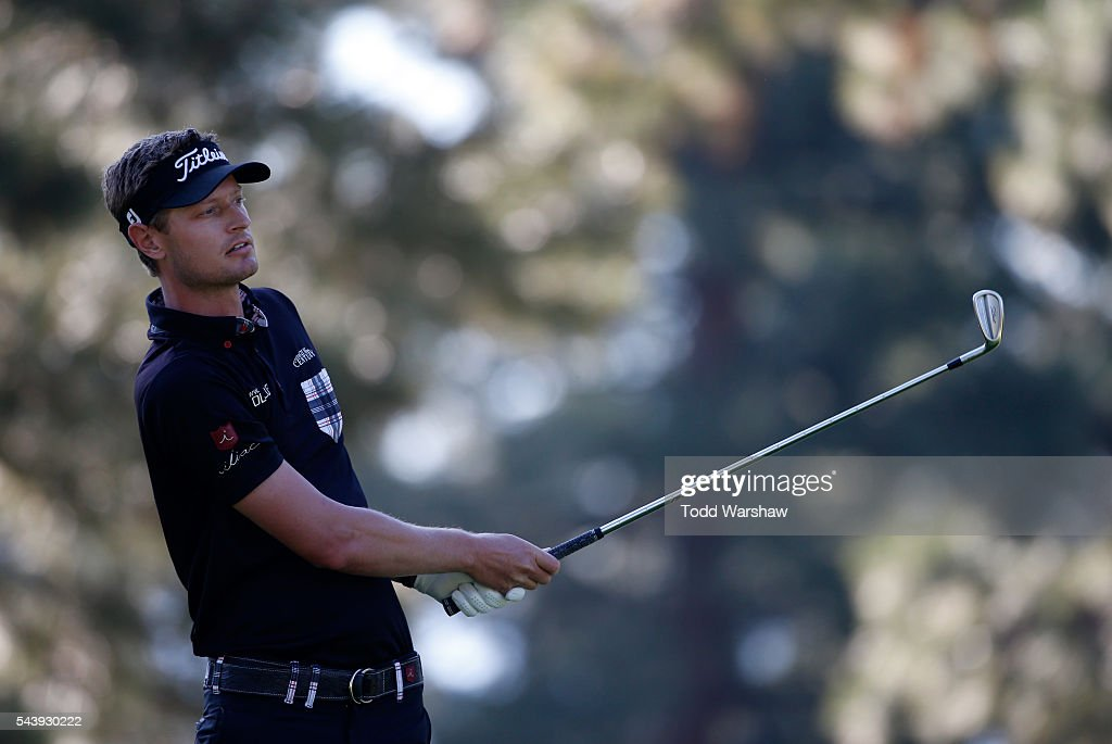 Brett Stegmaier plays his shot from the third tee during the first round of the Barracuda Championship at the Montreux Golf and Country Club on June 30, 2016 in Reno, Nevada.