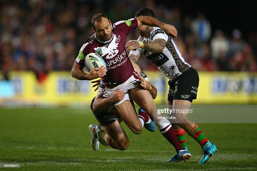 Brett Stewart of the Eagles is tackled during the round 22 NRL match between the Manly Sea Eagles and the South Sydney Rabbitohs at Brookvale Oval on August 7, 2015 in Sydney, Australia.
