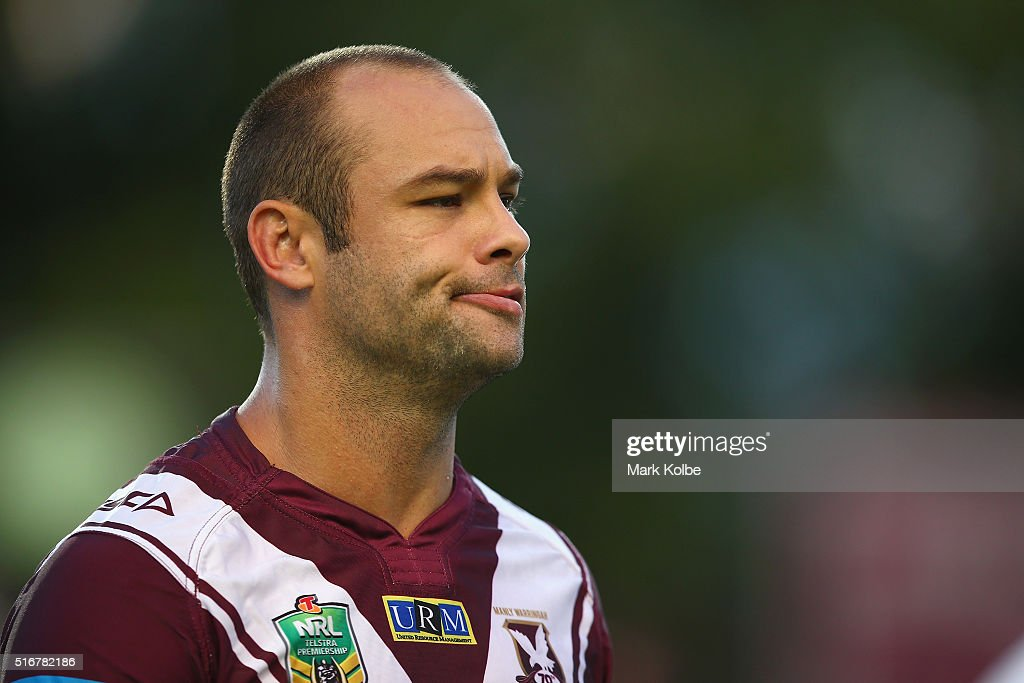 Brett Stewart of the Eagles watches on during warm-up ahead of the round three NRL match between the Manly Sea Eagles and the Cronulla Sharks at Brookvale Oval on March 21, 2016 in Sydney, Australia.