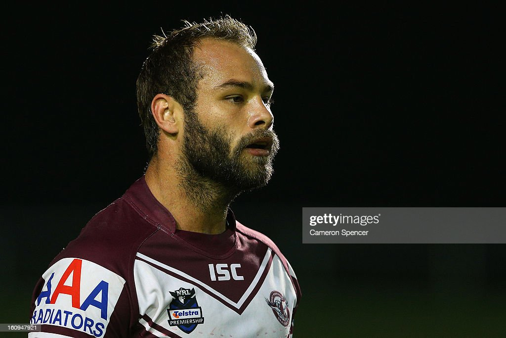 <a gi-track='captionPersonalityLinkClicked' href=/galleries/search?phrase=Brett+Stewart&family=editorial&specificpeople=220234 ng-click='$event.stopPropagation()'>Brett Stewart</a> of the Sea Eagles looks on during the NRL trial match between the Manly Sea Eagles and the Cronulla Sharks at Brookvale Oval on February 8, 2013 in Sydney, Australia.