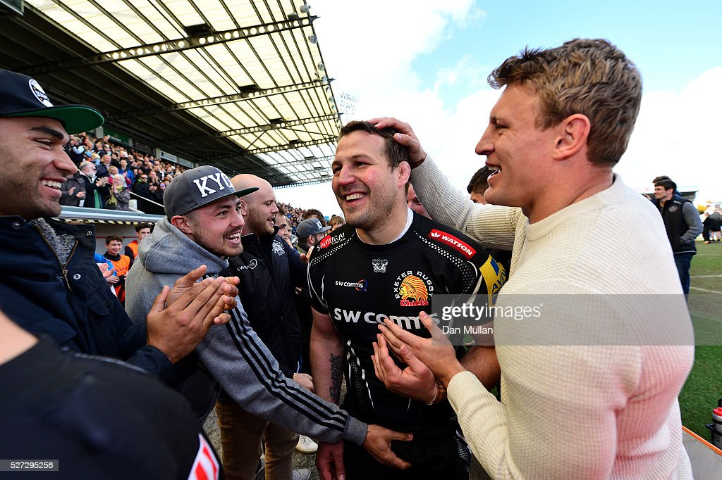 Brett Sturgess of Exeter Braves is congratulated by his team mates following his final game during the Aviva Premiership A League Final between Exeter Braves and Northampton Wanderers at Sandy Park on May 02, 2016 in Exeter, England.