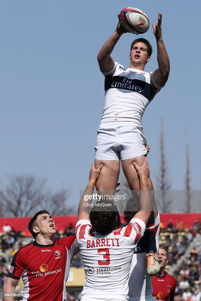 Brett Thompson #6 of the USA catches a lineout against Canada during the Tokyo Sevens, in the six round of the HSBC Sevens World Series at the Prince Chichibu Memorial Ground on March 23, 2014 in Tokyo, Japan.