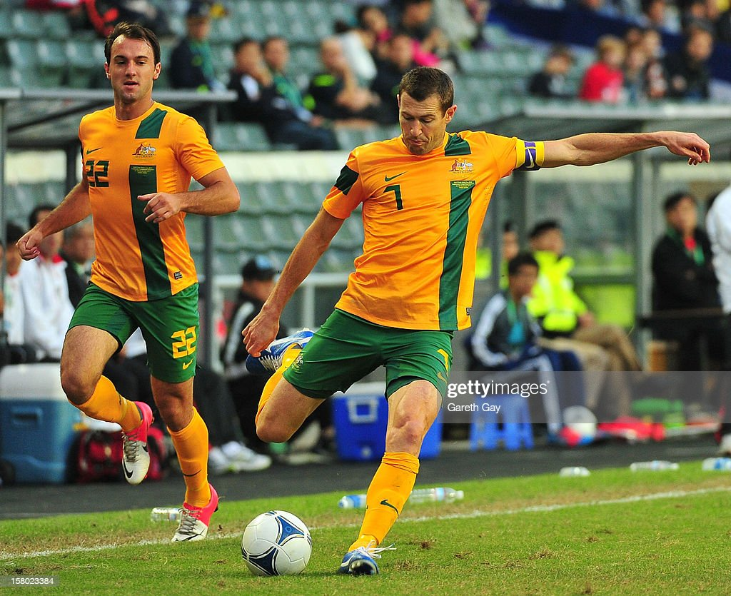 Brett Thwaite of Australia kicks the ball during the EAFF East Asian Cup 2013 Qualifying match between Chinese Tapei and the Australian Socceroos at Hong Kong Stadium on December 9, 2012 in So Kon Po, Hong Kong.