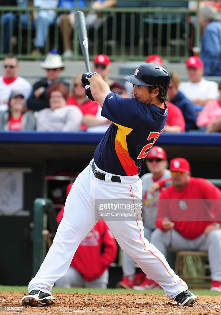 <a gi-track='captionPersonalityLinkClicked' href=/galleries/search?phrase=Brett+Wallace&family=editorial&specificpeople=2364861 ng-click='$event.stopPropagation()'>Brett Wallace</a> #29 of the Houston Astros hits a double against the St. Louis Cardinals during a spring training game at Osceola County Stadium on March 1, 2013 in Kissimmee, Florida.