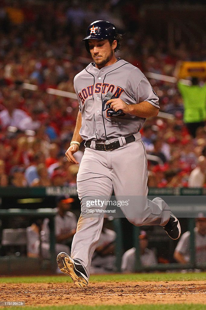 <a gi-track='captionPersonalityLinkClicked' href=/galleries/search?phrase=Brett+Wallace&family=editorial&specificpeople=2364861 ng-click='$event.stopPropagation()'>Brett Wallace</a> #29 of the Houston Astros scores a run against the St. Louis Cardinals int he sixth inning at Busch Stadium on July 9, 2013 in St. Louis, Missouri. The Cardinals beat the Astros 9-5.