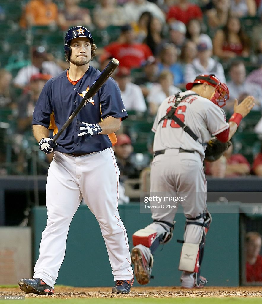 <a gi-track='captionPersonalityLinkClicked' href=/galleries/search?phrase=Brett+Wallace&family=editorial&specificpeople=2364861 ng-click='$event.stopPropagation()'>Brett Wallace</a> #29 of the Houston Astros strikes out leaving two men on against the Los Angeles Angels of Anaheim in the eighth inning on September 15, 2013 at Minute Maid Park in Houston, Texas.