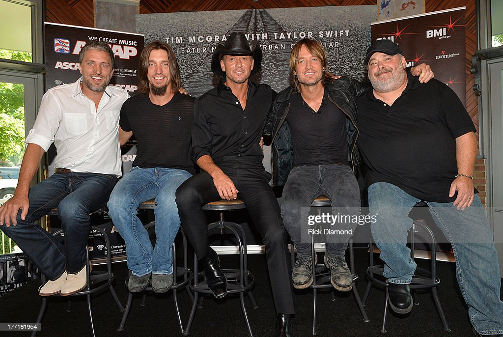 Brett Warren, Brad Warren, Tim McGraw, Keith Urban and Mark Irwin attend as Tim McGraw Celebrates Multi-Week No. 1 'Highway Don't Care' at Music City Tippler on August 20, 2013 in Nashville City.