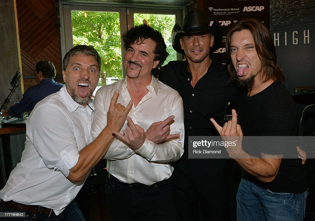 Brett Warren, <a gi-track='captionPersonalityLinkClicked' href=/galleries/search?phrase=Scott+Borchetta&family=editorial&specificpeople=4462508 ng-click='$event.stopPropagation()'>Scott Borchetta</a>, <a gi-track='captionPersonalityLinkClicked' href=/galleries/search?phrase=Tim+McGraw&family=editorial&specificpeople=202845 ng-click='$event.stopPropagation()'>Tim McGraw</a> and <a gi-track='captionPersonalityLinkClicked' href=/galleries/search?phrase=Brad+Warren&family=editorial&specificpeople=212917 ng-click='$event.stopPropagation()'>Brad Warren</a> attend as <a gi-track='captionPersonalityLinkClicked' href=/galleries/search?phrase=Tim+McGraw&family=editorial&specificpeople=202845 ng-click='$event.stopPropagation()'>Tim McGraw</a> Celebrates Multi-Week No. 1 'Highway Don't Care' at Music City Tippler on August 20, 2013 in Nashville City.