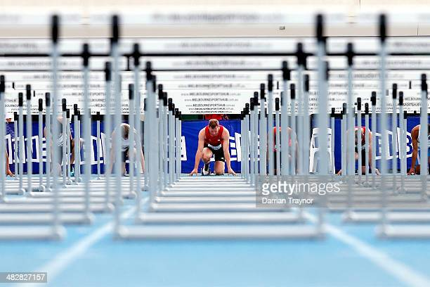 Brett Watton of Queensland gets set to run in the 110m hurdles during the 92nd Australian Athletics Championships at Olympic Park on April 5 2014 in...