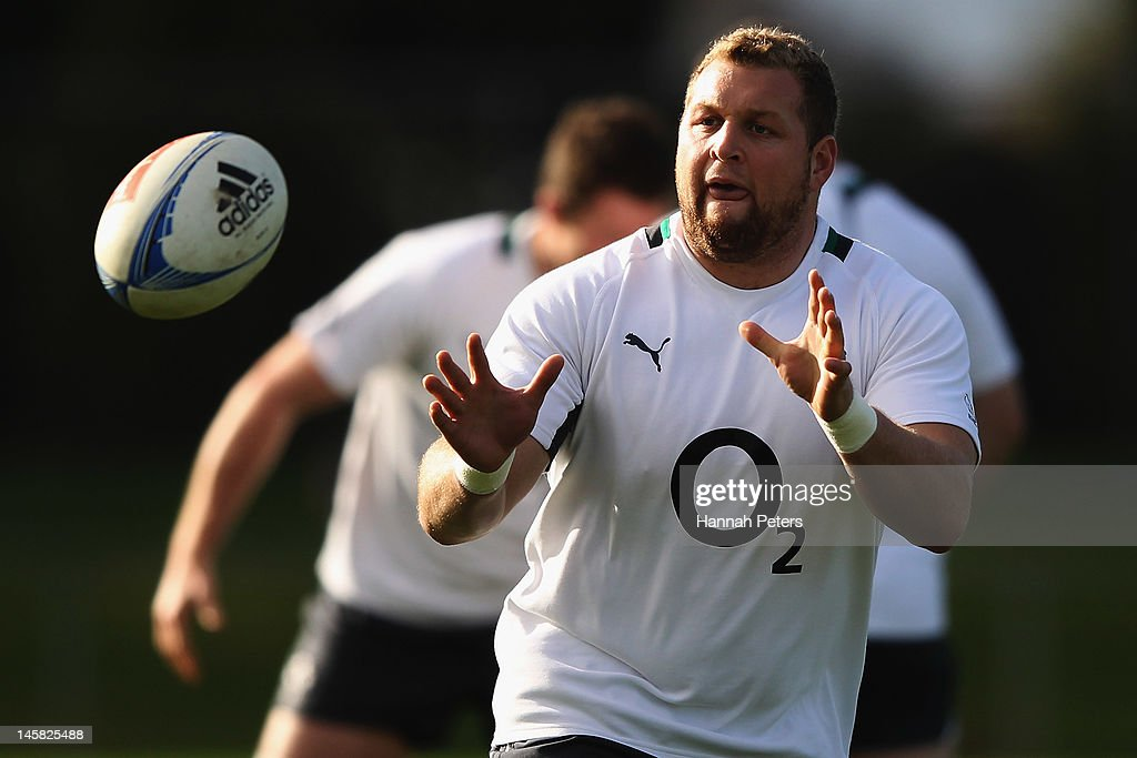 Brett Wilkinson runs through drills during an Ireland rugby team training session at Onewa Domain on June 7, 2012 in Takapuna, New Zealand.