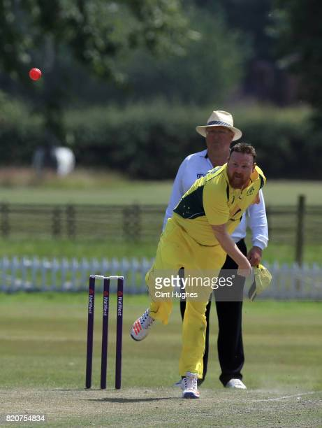 Brett Wilson of Australia bowls during the T20 INAS TriSeries against England at Toft Cricket Club on July 18 2017 in Knutsford England