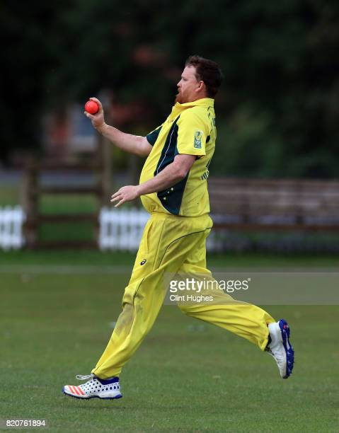 Brett Wilson of Australia bowls during the T20 INAS TriSeries against South Africa at Toft Cricket Club on July 18 2017 in Knutsford England