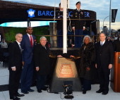 Brett Yormark Jerry Stackhouse Marty Markowitz Sharon Robinson and Bruce Ratner attend the Ebbets Field Flagpole Commemoration at the Barclays Center...