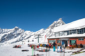 Breuil-Cervinia ski resort and Monte Cervino (Matterhorn) in March, Cime Bianche Laghi, Breuil-Cervinia, Valle d'Aosta, Italy