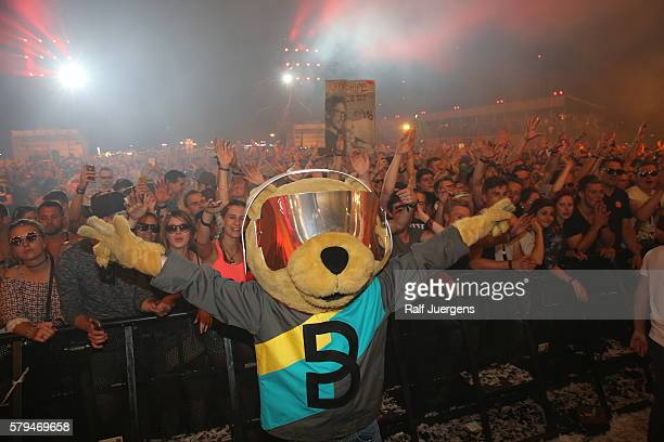 BreuniBaer mascot of Breuninger is seen during the ParookaVille Festival on July 15 2016 in Weeze Germany