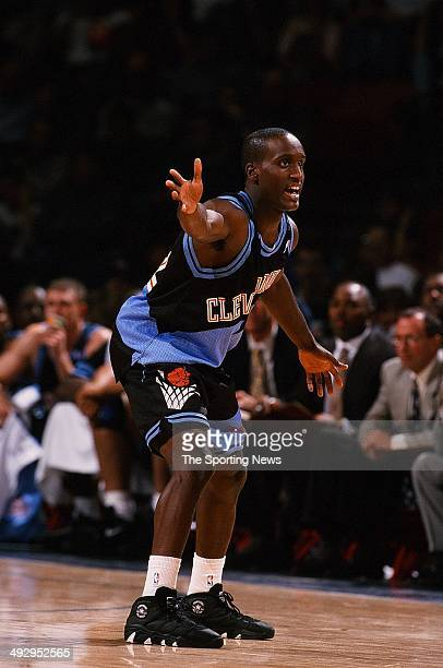Brevin Knight of the Cleveland Cavaliers plays defense during the game against the Houston Rockets on October 31 1997 at the Compaq Center in Houston...
