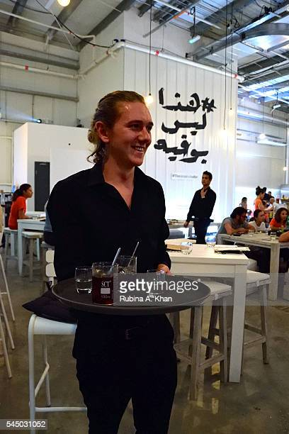 Brewed Colombian iced coffee being brought out at the Ramadan iftar popup at Alserkal Avenue catered by Elements Catering on July 4 2016 in Dubai...