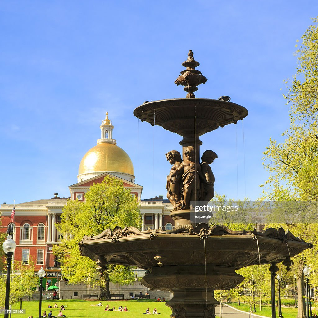 Brewer Fountain in Boston Common and State House