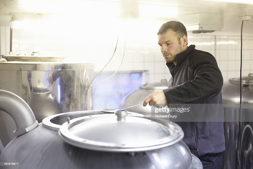 Brewer in microbrewery checking aroma hops : Stock Photo