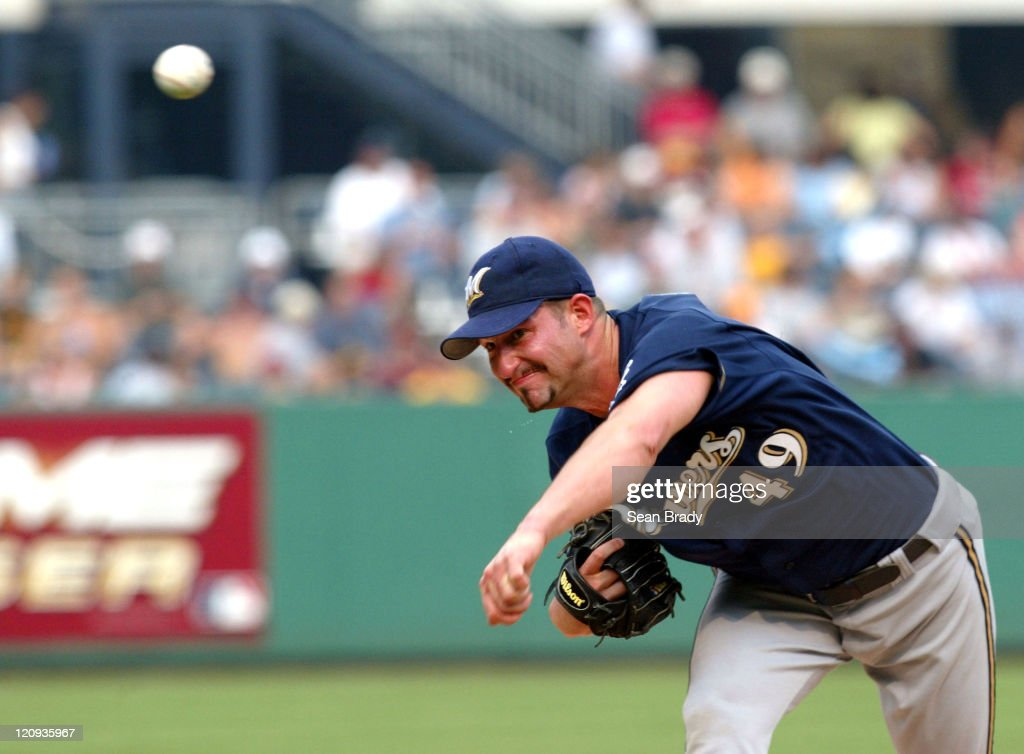Brewers' #49 <a gi-track='captionPersonalityLinkClicked' href=/galleries/search?phrase=Doug+Davis&family=editorial&specificpeople=211598 ng-click='$event.stopPropagation()'>Doug Davis</a> during a game against Pittsburgh at PNC Park in Pittsburgh, Pennsylvania on July 2, 2004.