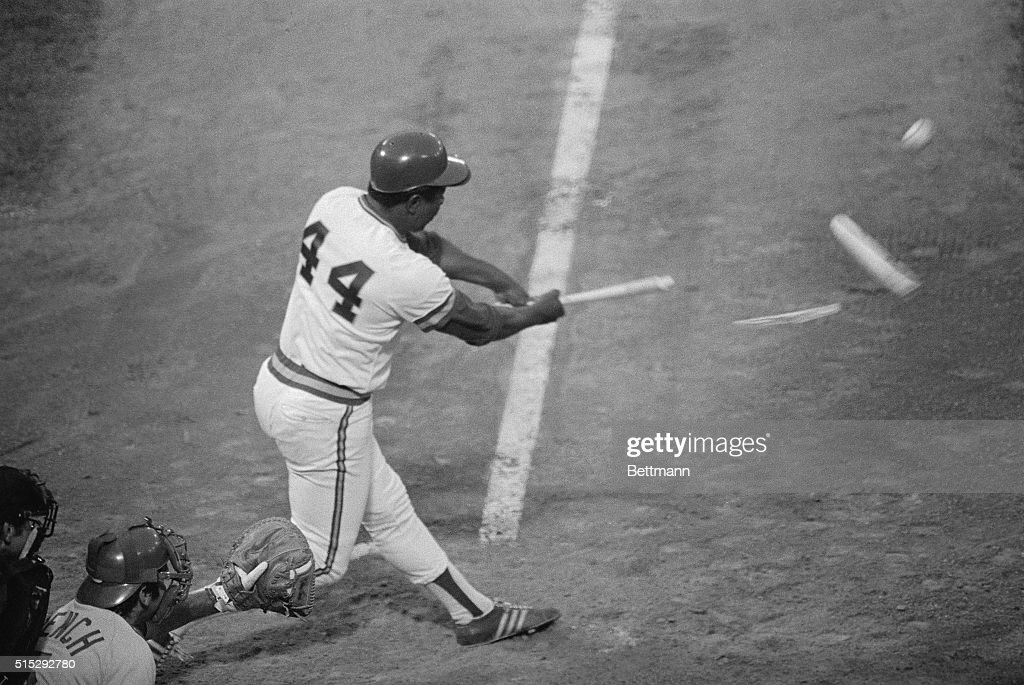 Brewers slugger Hank Aaron shatters his bat during second inning play of the 1975 AllStar Game at Milwaukee County Stadium in Milwaukee Wisconsin