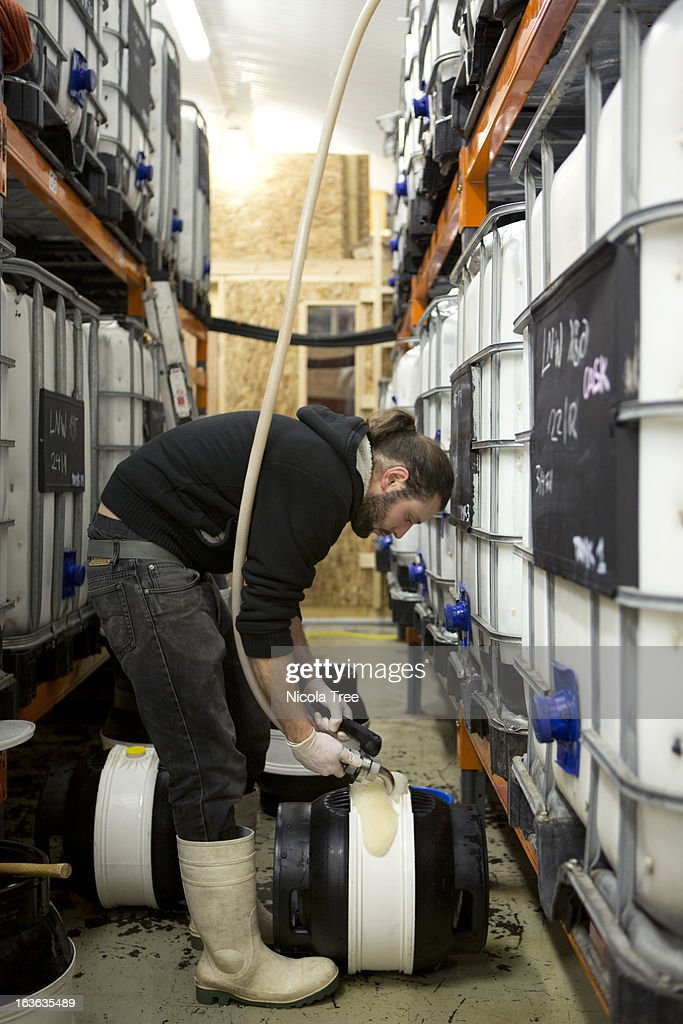 A brewery technician filling a cask with beer : Stock Photo
