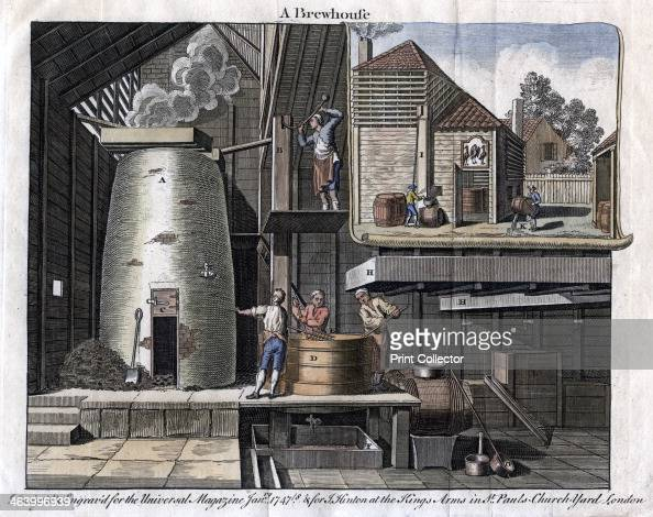 'A Brewhouse' 1747 Designed and engraved for the Universal Magazine Handcoloured later