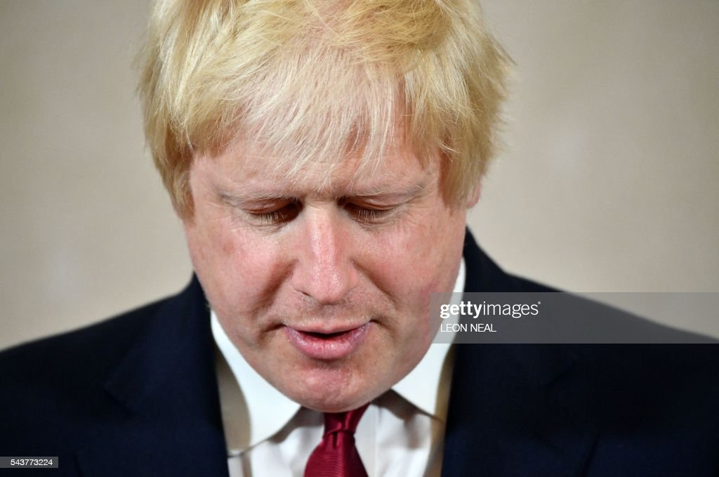 Brexit campaigner and former London mayor Boris Johnson addresses a press conference in central London on June 30, 2016. Brexit campaigner Boris Johnson said Thursday that he will not stand to succeed Prime Minsiter David Cameron. / AFP / LEON