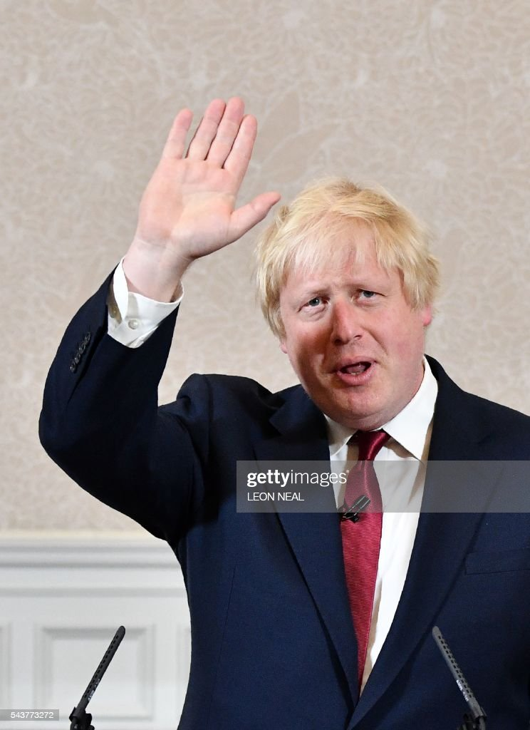 Brexit campaigner and former London mayor Boris Johnson addresses a press conference in central London on June 30, 2016. Top Brexit campaigner and former London mayor Boris Johnson said Thursday he will not stand to succeed Prime Minister David Cameron, as had been widely expected after Britain's vote to leave the European Union. / AFP / LEON