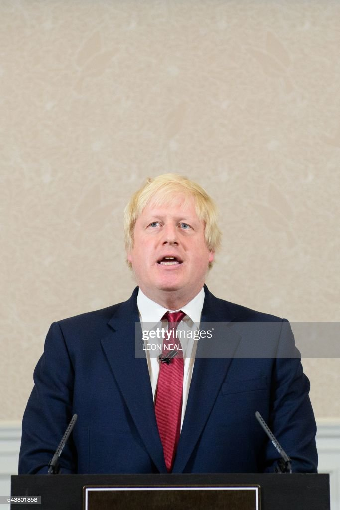 Brexit campaigner and former London mayor Boris Johnson addresses a press conference in central London on June 30, 2016. Top Brexit campaigner and former London mayor Boris Johnson said Thursday he will not stand to succeed Prime Minister David Cameron, as had been widely expected after Britain's vote to leave the European Union. The British pound spiked Thursday immediately after Boris Johnson said he will not stand in the Conservative leadership race. / AFP / LEON