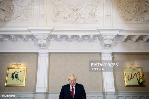 Brexit campaigner and former London mayor Boris Johnson addresses a press conference in central London on June 30 2016 Top Brexit campaigner and...