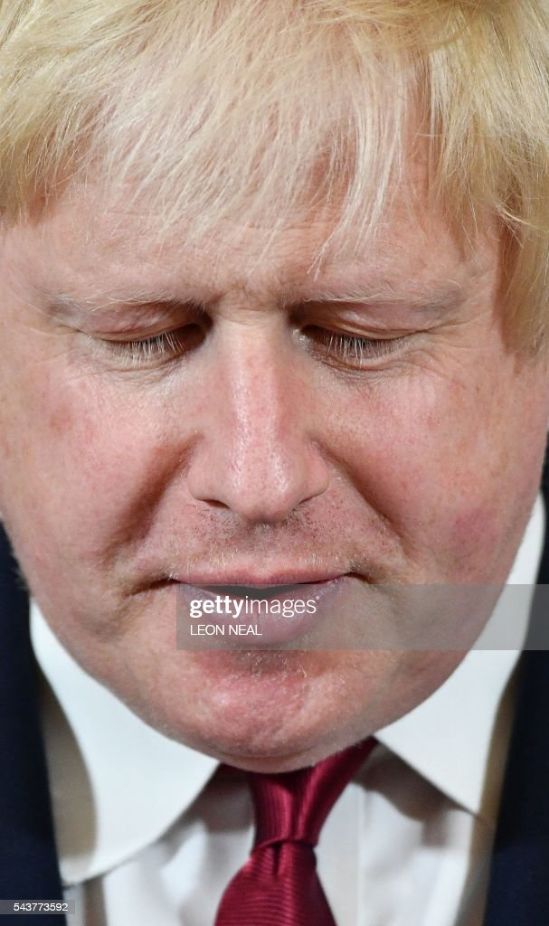 Brexit campaigner and former London mayor Boris Johnson is pictured as he addresses a press conference in central London on June 30, 2016. Top Brexit campaigner and former London mayor Boris Johnson said Thursday he will not stand to succeed Prime Minister David Cameron, as had been widely expected after Britain's vote to leave the European Union. / AFP / LEON