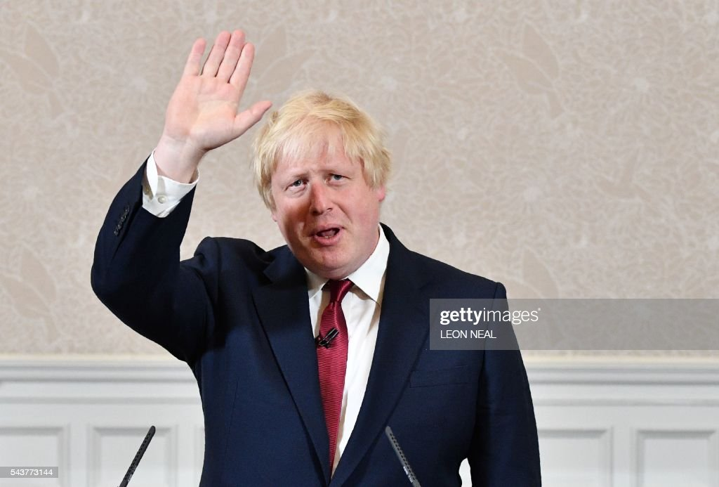 Brexit campaigner and former London mayor Boris Johnson prepares to leave after addressing a press conference in central London on June 30, 2016. Brexit campaigner Boris Johnson said Thursday that he will not stand to succeed Prime Minsiter David Cameron. / AFP / LEON
