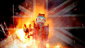 Brexit fail concept with retro  Robot on fire